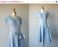 A simple blue lace, short sleeve dress with a satin ribbon. SALE 25 OFF / 50s dress / lace dress / by CustardHeartVintage