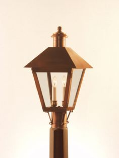 3PC (AC) Hyannis Series Post.Medium: Antique Copper finish. . Made from Solid Copper at Newstamp Lighting Corp in USA. See Website for dimensions, pricing and sizes: 7PC-Small, 4PC-Large