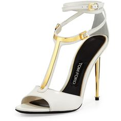 TOM FORD Leather T-Bar Ankle-Wrap Sandal ($695) ❤ liked on Polyvore featuring shoes, sandals, heels, chalk, yellow sandals, leather shoes, leather ankle strap sandals, ankle strap high heel sandals and open toe sandals