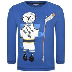 Little Marc Jacobs Boys Blue Ice Hockey Player Print Jersey Top