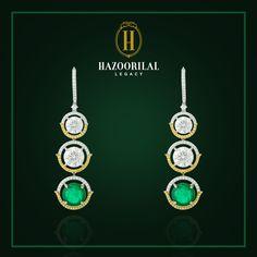 #LegacyOfDiamonds: A mesmerizing union of #Diamonds, and Zambian #Emeralds by #HazoorilalLegacy. #Earrings #Hazoorilal #Jewelry #Solitaire