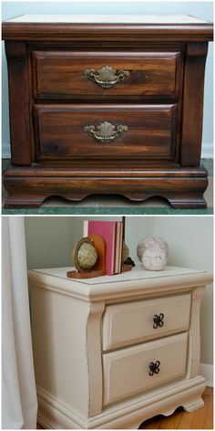 Salvaged Inspirations | Sanded Veneer Night Table Painted w Homemade ChalkyPaint