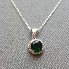 Sterling Silver Emerald Necklace Round Emerald by LibertaFashion, $23.95