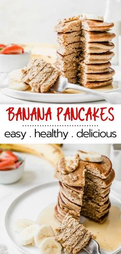 So easy and delicious, these fluffy Banana Oat Blender Pancakes come together in about 5 minutes and are full of nutritious goodness! You'll love them because they're healthy, gluten-free, dairy-free. Yummy Pancake Recipe, Delicious Breakfast Recipes, Savory Breakfast, Brunch Recipes, Pancake Recipes, Vegetarian Breakfast, Brunch Ideas, Recipes Dinner, Breakfast Ideas