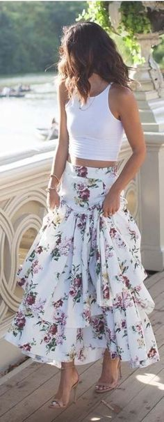 summer outfits White Tank + White Printed Maxi Skirt