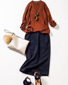 Burned orange and marine Fashion Mode, Japan Fashion, Minimal Fashion, Modest Fashion, Fashion Outfits, Womens Fashion, Best Casual Outfits, Fall Outfits, Moda Disney