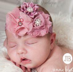 Baby headband, baby headbands, Mauve headband,newborn headband,shabby chic Flower headband, Easter Headband, Baby Hair Bows,Hair bows
