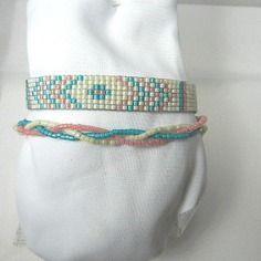Bracelet tissé en perles miyuki crème bleu et rose