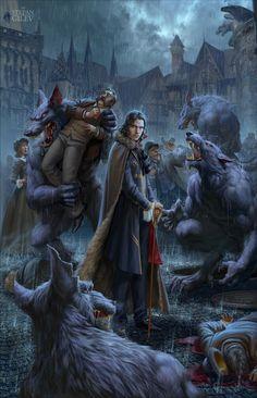 """Werewolves"" Artist Stepan Gilev. Vampires And Werewolves, New Fantasy, Boris Vallejo, Old Art, Anime Comics, Werewolf, Dungeons And Dragons, Vikings, Comic Art"