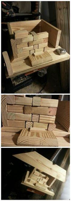 Alternating Mosaic Wooden Tile Log Bird House Design Set-Up