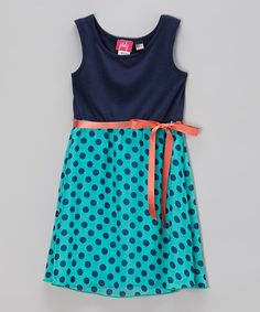 Look what I found on #zulily! Turquoise & Navy Polka Dot Skater Dress - Girls #zulilyfinds