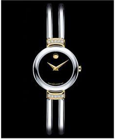 Movado Watch, Women's Swiss Diamond Bezel Stainless Steel Bracelet 24mm 0606240