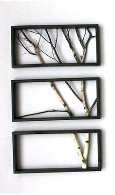 Ashbee Design: Birch Branch Triptych by John Oman. Another simple but elegant work of art. Would be super easy to replicate.