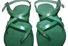 Green Triple Leather Sandals - Handmade Sandals, Jesus Sandals, Unisex Sandals, Flip Flop Sandals, Flat Leather Sandals, Genuine Leather Sandals - Sandali_Sandals