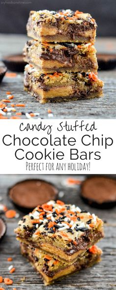 Two layers of gooey chocolate chip cookie dough stuffed with the candy of your choice! The perfect dessert recipe to use up that Halloween Candy or adapt them for any holiday! Best Dessert Recipes, Easy Desserts, Delicious Desserts, Bar Recipes, Recipies, Sweet Desserts, Candy Recipes, Healthy Desserts, Yummy Recipes