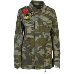 Mr Mrs Italy Camouflage Field Jacket ($690) ❤ liked on Polyvore featuring outerwear, jackets, army, army camo jacket, camoflage jacket, military jackets, army jacket and camouflage army jacket