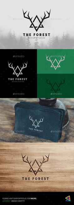 The Forest Logo #mountain #deer #triangle • Download ➝ https://graphicriver.net/item/the-forest-logo/18329350?ref=pxcr