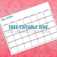 Free Printable Calendar June 2016 - Perfect for meal planning, exercise schedules, cleaning schedules and more!