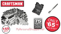 Craftsman 155-Piece Mechanics Tool Set, just $65!? (Was $150) - http://mypersonalshopper.net/craftsman-155-piece-mechanics-tool-set-just-65-was-150/