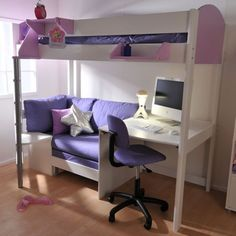Futon Bunk Bed with Desk Pictures, love this, my girls would love this too...