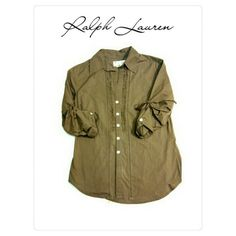 RALPH LAUREN  GRAY/ GREEN BUTTON DOWN TOP RALPH LAUREN - DENIM & SUPPLY TOP SIZE XS 100% COTTON BUTTON DOWN WITH RUFFLES, CINCHED ROLL UP SLEEVES BEAUTIFUL GRAY GREEN COLOR. Ralph Lauren Tops Button Down Shirts