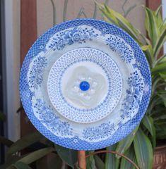 $30.00 Glass Plate Flower Blue & White