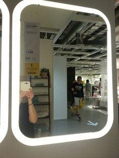 Storjorm mirror with built in lighting white vanities for Illuminated mirrors ikea