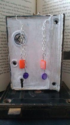 Purple and Orange Mother of Pearl Earrings by MaleseDesigns, $8.00
