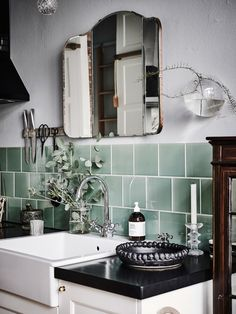Green tile is trending in interior design. Here are 35 reasons why we can't get enough green tile. For more interior design trends and inspiration, visit domino. Interior, Home Furnishings, Vintage Kitchen, Green Tile, Bathrooms Remodel, Bathroom Decor, Bathroom Inspiration, Tile Bathroom, Timeless Kitchen
