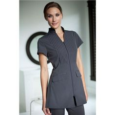 Crisp tailoring meets dynamic design in the Dolce style spa uniform from Noel Asmar. A partial mandarin Salon Uniform, Spa Uniform, Uniform Ideas, Dental Uniforms, Work Uniforms, Housekeeping Uniform, The Style Council, Corporate Uniforms, Uniform Design