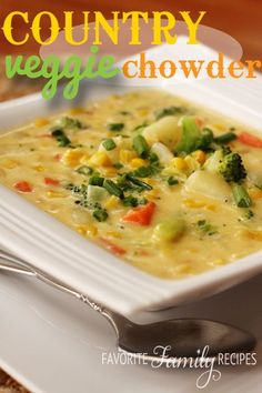 A delicious and simple Country Vegetable Chowder your family will love! Ingredients include broccoli, cauliflower, carrots, potatoes, and onions.