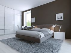 This sophisticated color choice befits this modern bedroom design.