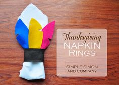 Feather Napkin Holders and 9 other kid crafts for the Thanksgiving table