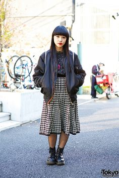 Bomber Jacket, Houndstooth Midi Skirt, Fishnets & Boots in Harajuku