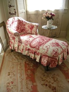Decorating with Color, Pink and White Upholstery, Colorful Home Decor, Toile Fabric, Skirted Chaise Lounge French Country Cottage, French Country Style, Red Cottage, Rustic French, Shabby Cottage, French Decor, French Country Decorating, Lounge, Country Style Homes
