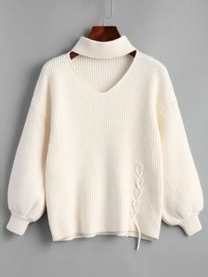 GET $50 NOW   Join Zaful: Get YOUR $50 NOW!https://m.zaful.com/lantern-sleeve-lace-up-choker-sweater-p_456320.html?seid=6415240zf456320