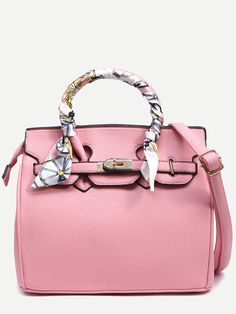 b2dd0779f9 Shop Pink Pebbled Faux Leather Turnlock Strap Closure Satchel Bag online.  SheIn offers Pink Pebbled