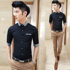 Promotion Men Fancy Clothing Unique Splicing Half Sleeve Shirt Charming Men Slim Dress Shirt $24.58