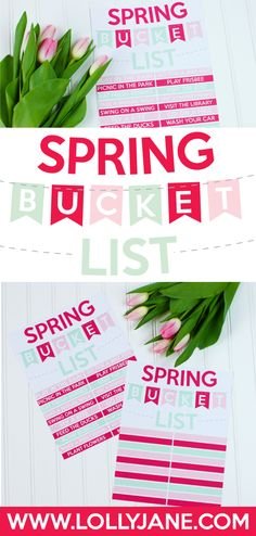 Spring Bucket List Printables | Designed by Paperelli for LollyJane.com