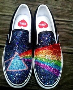 2014 GLITTER RAINBOW pink floyd dark side of the moon prism handpainted black VANS slip on sneakers unisex any size