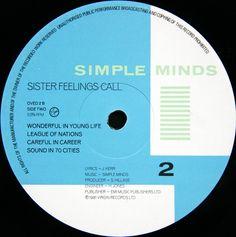 Simple Minds - Sister Feelings Call. By Malcolm Garrett.