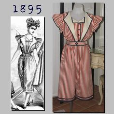 """Bathing Costume: Suit and Cap - 36"""" Bust - 1890's - Victorian Reproduction PDF Pattern - made from original 1895 La Mode Illustree pattern"""