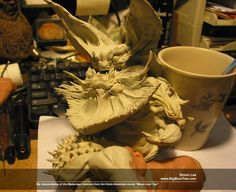 by Simon Lee (Spiderzero)...My MONSTER M sculpt from 2009, my interpretation of the Makaraga creature from Keita Amemiya's movie MOON OVER TAO. The medium was Magic Sculpt over baked Super Sculpey
