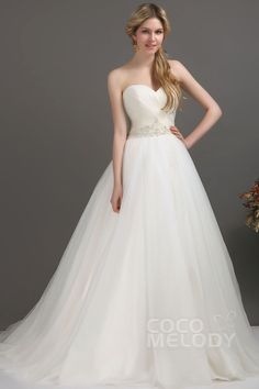 Glorious A-Line Sweetheart Chapel Train Tulle Wedding Dress CWLT1305E