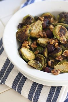 Roasted Brussels Sprouts with grapes and walnuts.