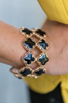 Double Stacked Bracelet - Black - The Mint Julep Boutique
