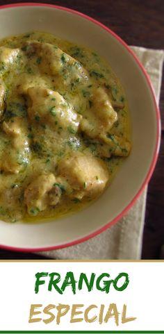 Frango especial | Food From Portugal. Não sabe o que fazer para o almoço? Sugerimos esta deliciosa receita de frango regada com um molho cremoso que todos vão gostar! É fácil de preparar e muito saborosa! Bom apetite!!! #receita #frango
