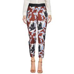 Liu •jo Casual Trouser (£64) ❤ liked on Polyvore featuring pants, brown, brown pants, peg-leg pants, white trousers, zip pants and zipper pants
