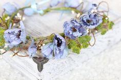 Tie Back Floral Wreath, Rustic Floral Crown, Head Accessories