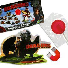 Überraschungstüte: Dragons/Drachenzähmen Magnet mit Erdbeerlutscher…